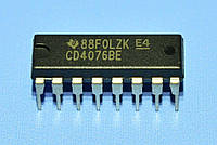 Микросхема 4076 /СD4076BE  dip16  TI
