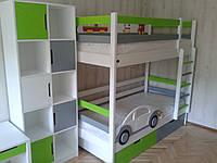 """Комната """"Автомобильчик"""" (стеллаж, стол, комод, двухъярусная кровать)!"""