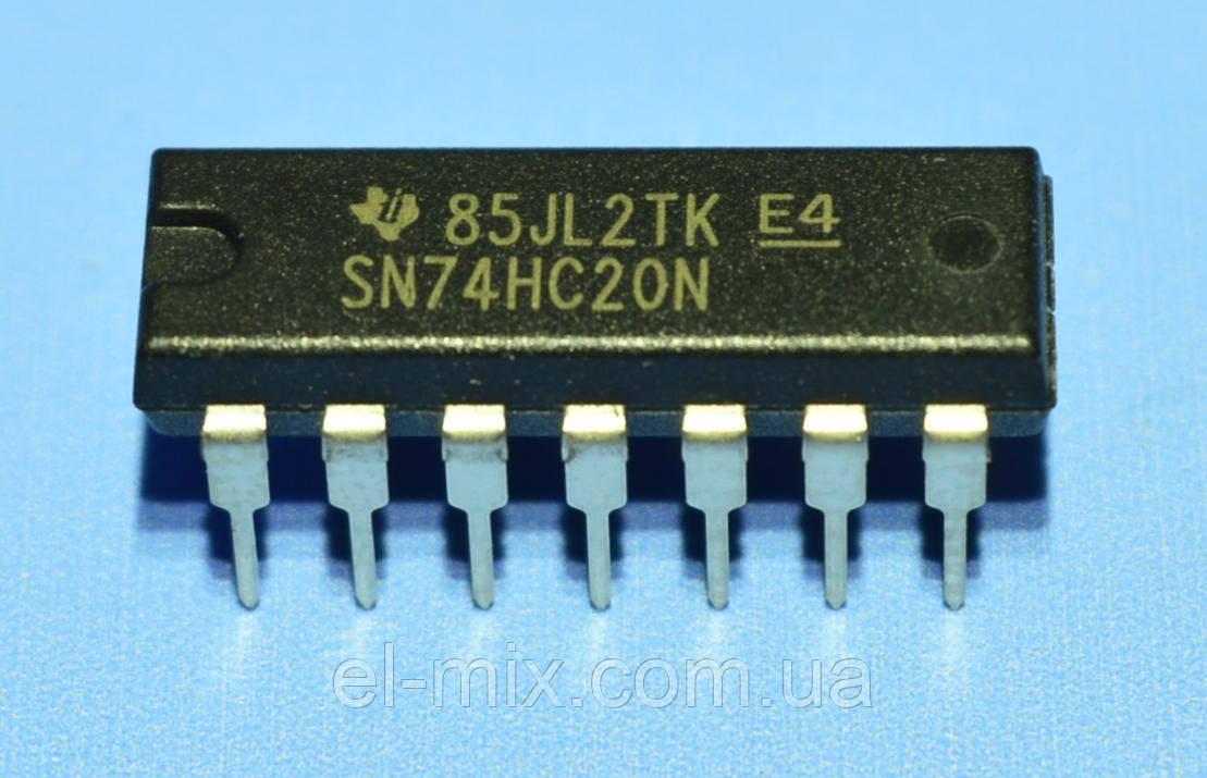 Микросхема 74HC20N  dip14  TI