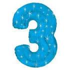 Цифры фольгированные голубые со звездами 3, 70 см