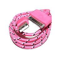 Тканевый USB кабель для iPhone4  Pink