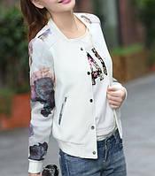 Куртка бомбер белый с цветами, фото 1