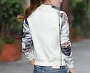Куртка бомбер белый с цветами, фото 2