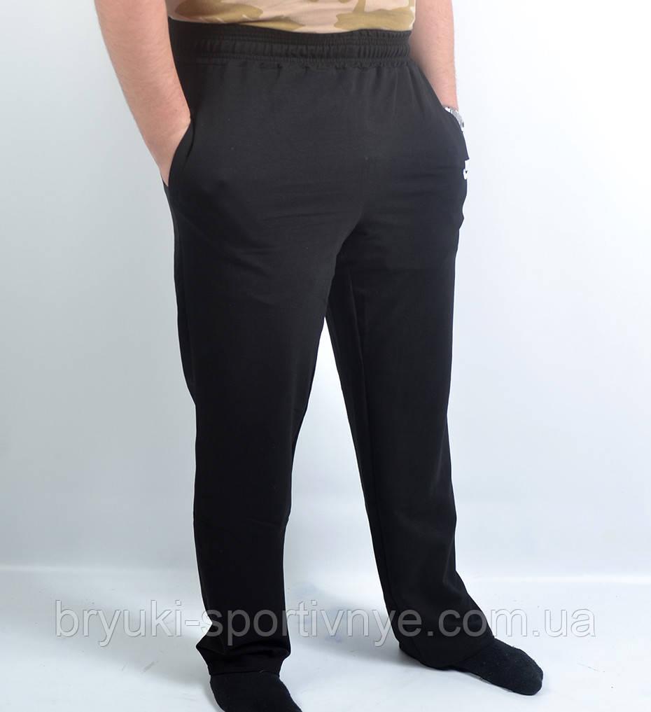 Штаны спортивные мужские трикотажные в больших размерах  Брюки мужские бренд  3 кармана - батал 56 Черный