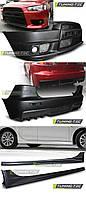 Комплект обвеса MITSUBISHI Lancer X (2007-...). Копия Evolution. В комплект входят: - бампер передний - бампер задний - накладки на пороги. Материал: