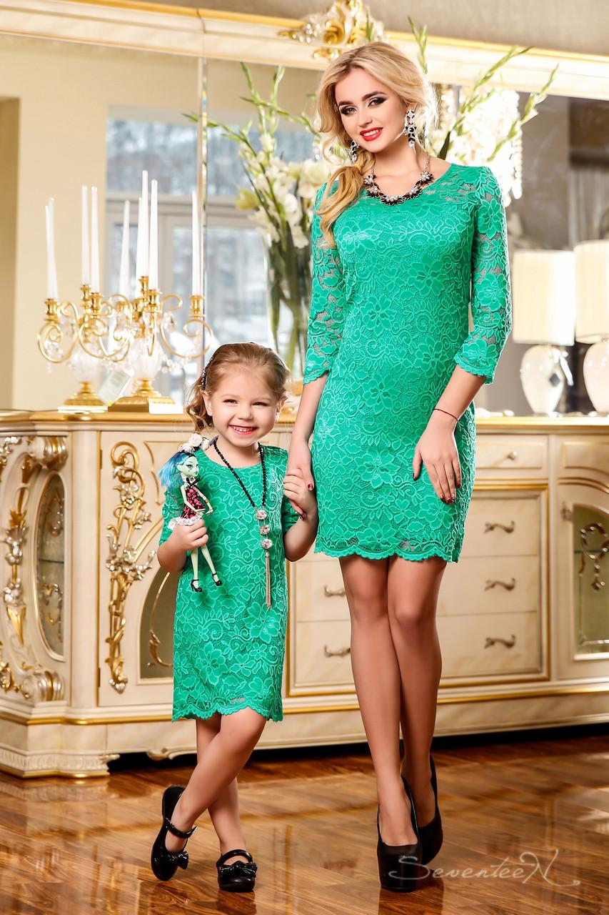9a0cdae99433 Модное кружевное детское платье из гипюра на трикотажной подкладке, для мамы  и дочки - TM