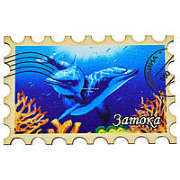 """Магнит на холодильник - марка №9 """"Дельфины"""" Затока"""