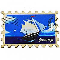 """Магнит на холодильник - марка №11 """"Корабль с красным флагом"""" Затока"""