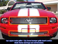 Декоративная решетка радиатора+бампера Ford Mustang '06-08, алюминий
