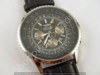 Мужские часы Breitling Navitimer A27362 (2151192) серебристые на черном ремешке с календарем