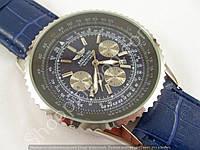 Мужские часы Breitling Navitimer A27362 (2151192) серебристые на синем ремешке с календарем