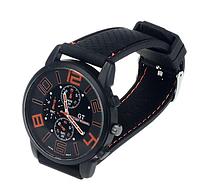 Мужские наручные часы GT Grand Touring большим циферблатом 4см (с оранжевыми цифрами)