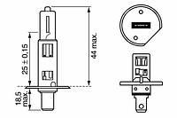 Лампа накаливания H1 12V 55W P14,5s XENON BLUE (производство Bosch ), код запчасти: 1 987 302 015