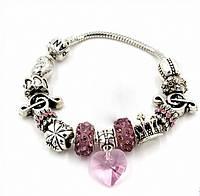 "Браслет Pandora (пандора) ""Розовое сердце ""  P022"