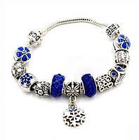 "Браслет Pandora (пандора) ""Снежинка синие камни""  P018"