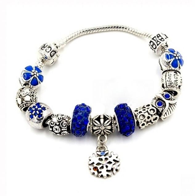 браслет Pandora пандора снежинка синие камни P018 цена 220 грн