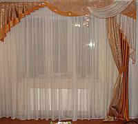 Жесткий ламбрекен коричневый Три Волны