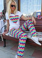 """Легкий хлопковый женский костюм """"Зигзаг"""" футболка и штаны с карманами"""