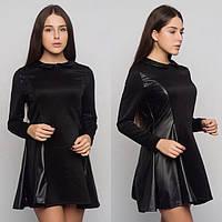 Оригинальное платье с кожаными вставками