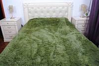 Покрывало на кровать с длинным ворсом цвет зеленый 220х240, фото 1