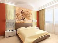 Фреска декоративная в интерьере спальни на декоративной штукатурке