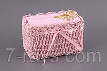 "Набор полотенец кухонных 2 шт., 40х60/50х90 см. ""Бабочка"" розовый, в корзине"