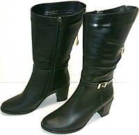 Сапоги кожаные черные молния демисезонные, фото 1