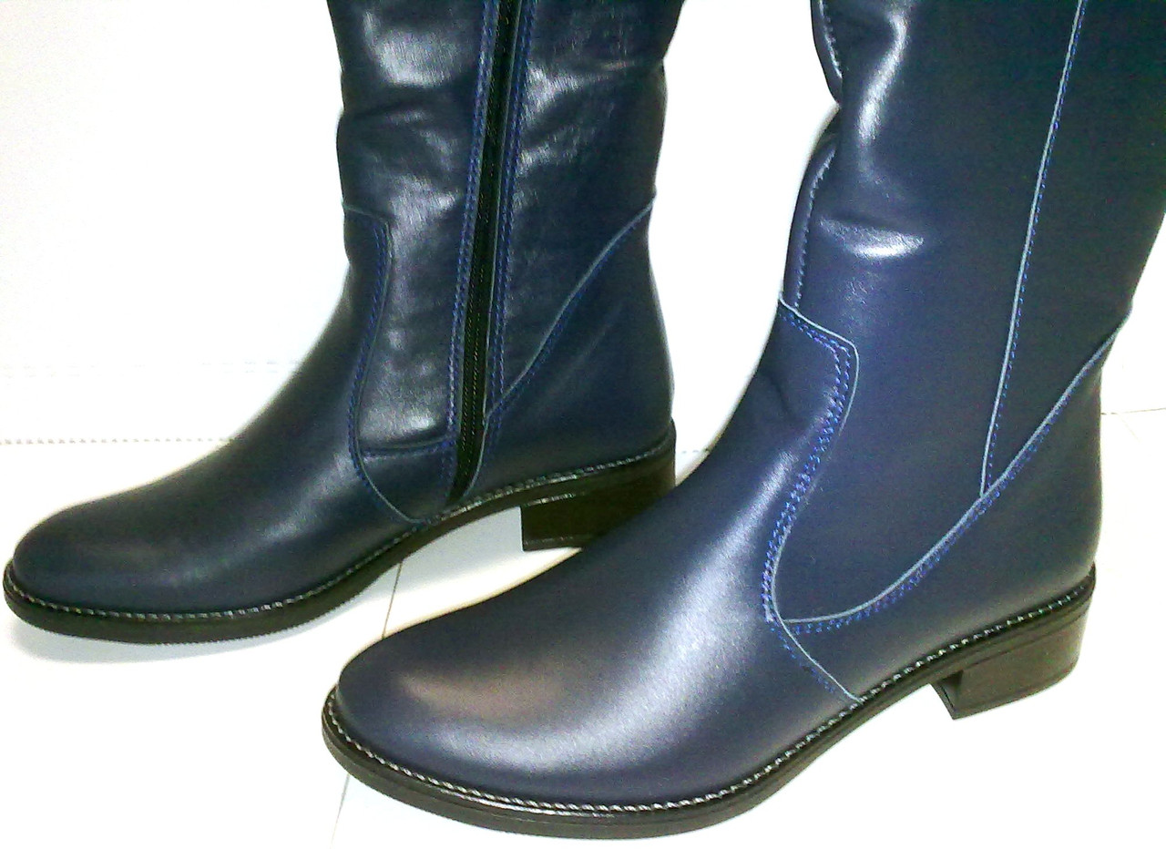 Сапоги - ботфорты демисезонные кожаные синего цвета