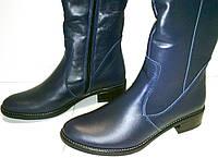 Сапоги - ботфорты демисезонные кожаные синего цвета, фото 1