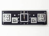 Часы настенные Семейные воспоминания на 4 фото черные