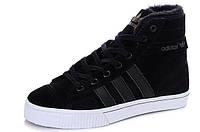 Мужские высокие зимние кроссовки Adidas AdiTennis Fur (Адидас) с мехом черные