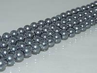 Бусы маёрка, 1.2см (8мм),  тёмное серебро