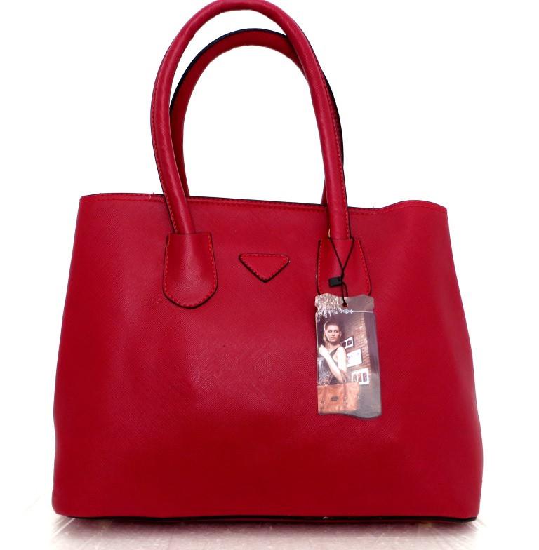 Стильна вместительная женская сумка Кожзам. Красная