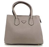 Стильна вместительная женская сумка Кожзам. Серая. , фото 1