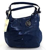 Стильная женская сумка-мешок Эко-кожа. Синяя , фото 1