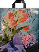 Пакет петля Авентин 40*43 Розовые тюльпаны