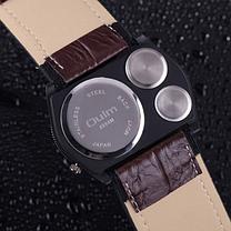 Мужские наручные часы OULM с ремешком хаки (термометр и компас бутафория ),  фото 2 c66d154e7dc