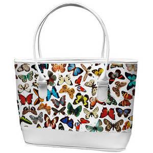 Cумка шоппер белая Бабочка