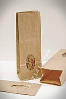 Пакет паперовий з плоским дном та вікном 265*85*65 коричневий 70гр/м2