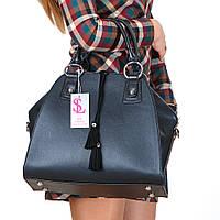 Черная большая сумка-трапеция №1352m женская