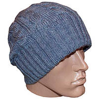 """Вязаная мужская шапка - носок """"косичка"""" на высокой резинке серо - джинсового цвета"""