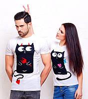 """Парные футболки для влюбленных """"Котики"""""""