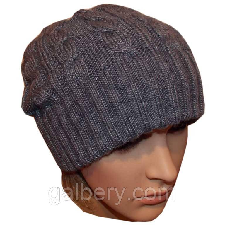 """В'язана жіноча шапка-носок """"косичка"""" на високій резинці сіро-джинсового кольору"""