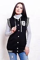 Женский жилет с начесом спортивный с капюшоном черного цвета