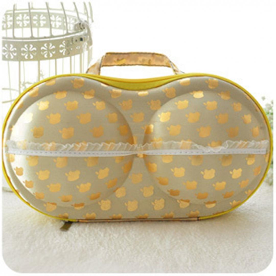 Футляр для бюстиков с кармашком для трусиков желтый в яблоко