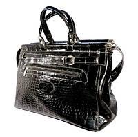 Кожаная дорожная сумка, саквояж Desisan черная, 46*28*24 см