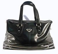 Кожаная дорожная, спортивная сумка Prada черная, 52*30*23 см