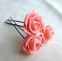 """Шпильки для волос ручной работы """"Розочки Персиковые"""""""