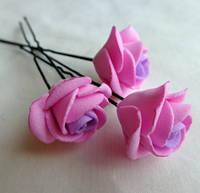 """Шпильки для волос ручной работы """"Розочки Розовая Сирень"""""""