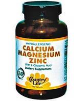 Минеральный комплекс Calcium, Magnesium, Zinc (250 табл.) Country Life
